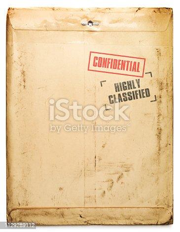 Confidential yellow document envelope
