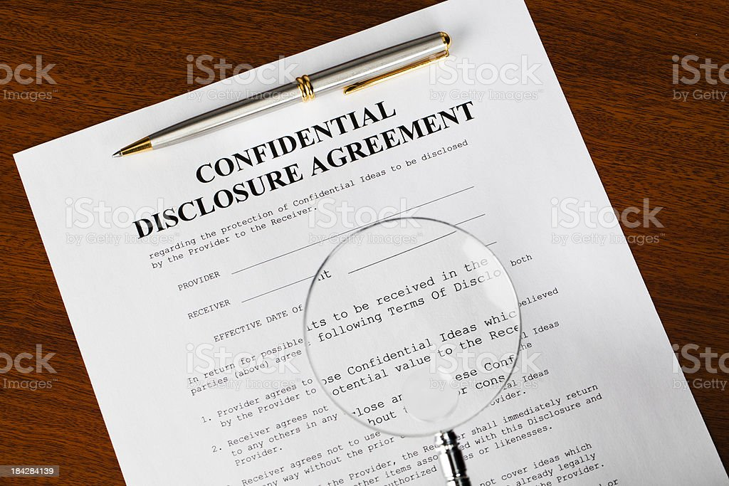 Confidentiality agreement royalty-free stock photo