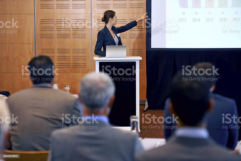 Confidently taking control of the press conference stock photo