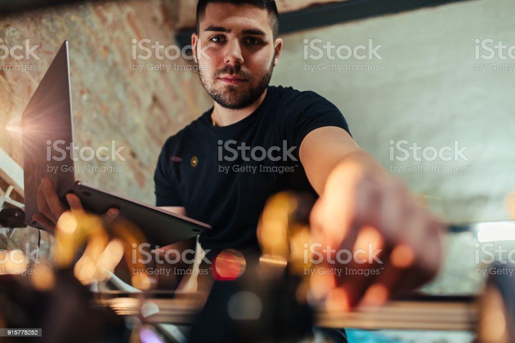 Configuring a mining rig stock photo