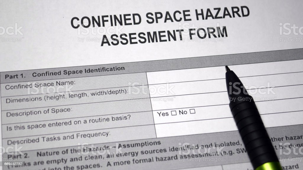 Confined Space Hazard Assesment Form stock photo