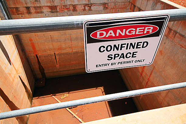 Confined Space Confined space safety sign in an industrial application. confined space stock pictures, royalty-free photos & images