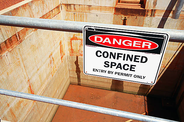 Confined Space Pit A confined space safety sign in an industrial application confined space stock pictures, royalty-free photos & images