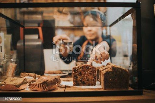 pointing, confirm, Senior women, active senior, bakery, baker, service, cafe, coffee shop, retirement, Thailand, Bangkok, small business, businesswomen