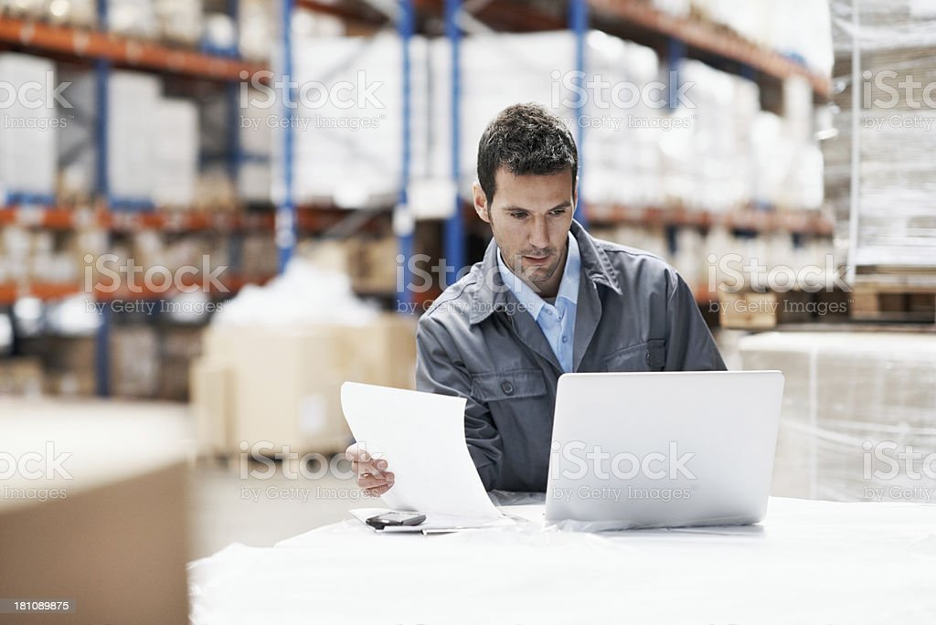 Confirming the receipt of goods online royalty-free stock photo