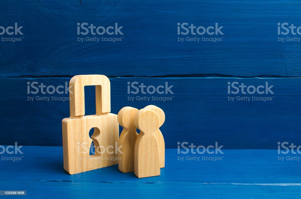 Confiscation Of Property For Debts Safety And Alarm System Security Service Wooden People With Padlocks Three People With A Lock Security And Safety Collateral Loan For A Mortgage Stock Photo Download