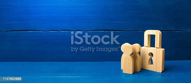 istock Confiscation of property for debts. Safety and alarm system. Security service. Wooden people with padlocks. three people with a lock. Security and safety, collateral, loan for a mortgage. 1147632693