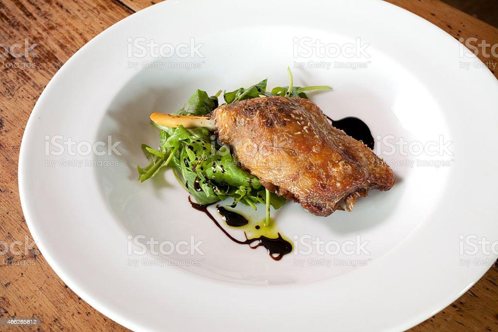 Confit duck leg stock photo