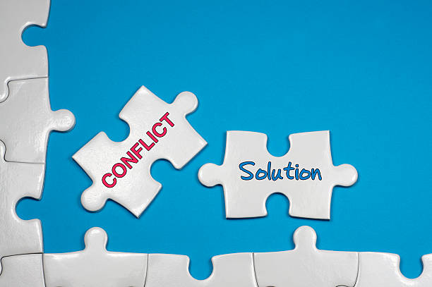 Conflict and Solution Tex - Business Concepts stock photo