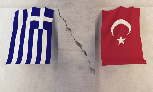 conflict  between greece and turkey concept - grecia stato foto e immagini stock
