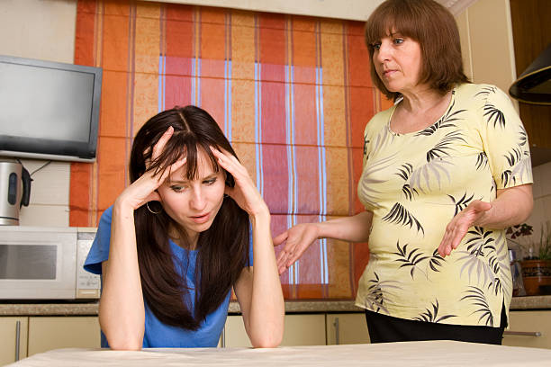 Conflict between mum and daughter. Series stock photo