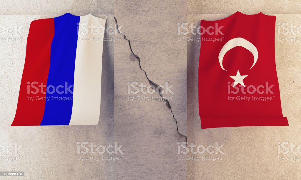 Conflict  between Russia and Turkey Concept stock photo