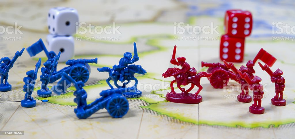 Conflict Between Two Colours On War Field stock photo
