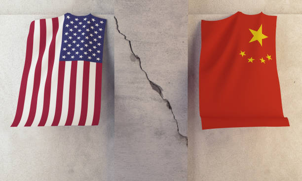 Conflict  between USA and China Concept stock photo