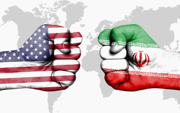 Conflict between USA and Iran - male fists Conflict between USA and Iran, male fists - governments conflict concept iran stock pictures, royalty-free photos & images