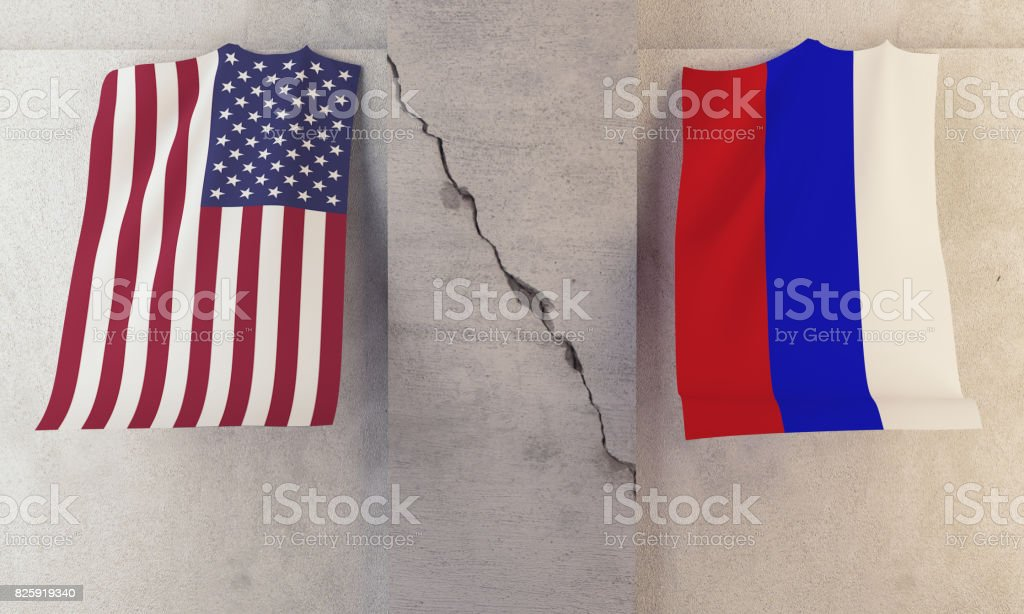 Conflict  between USA and Russia Concept stock photo