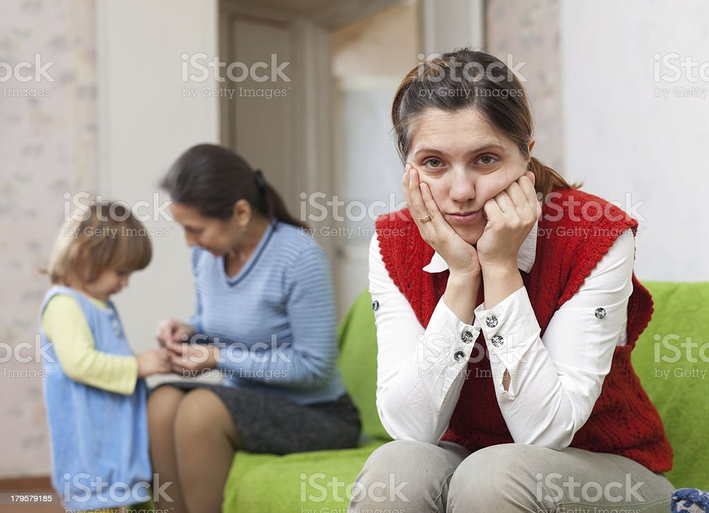 conflict between woman and her mother royalty-free stock photo