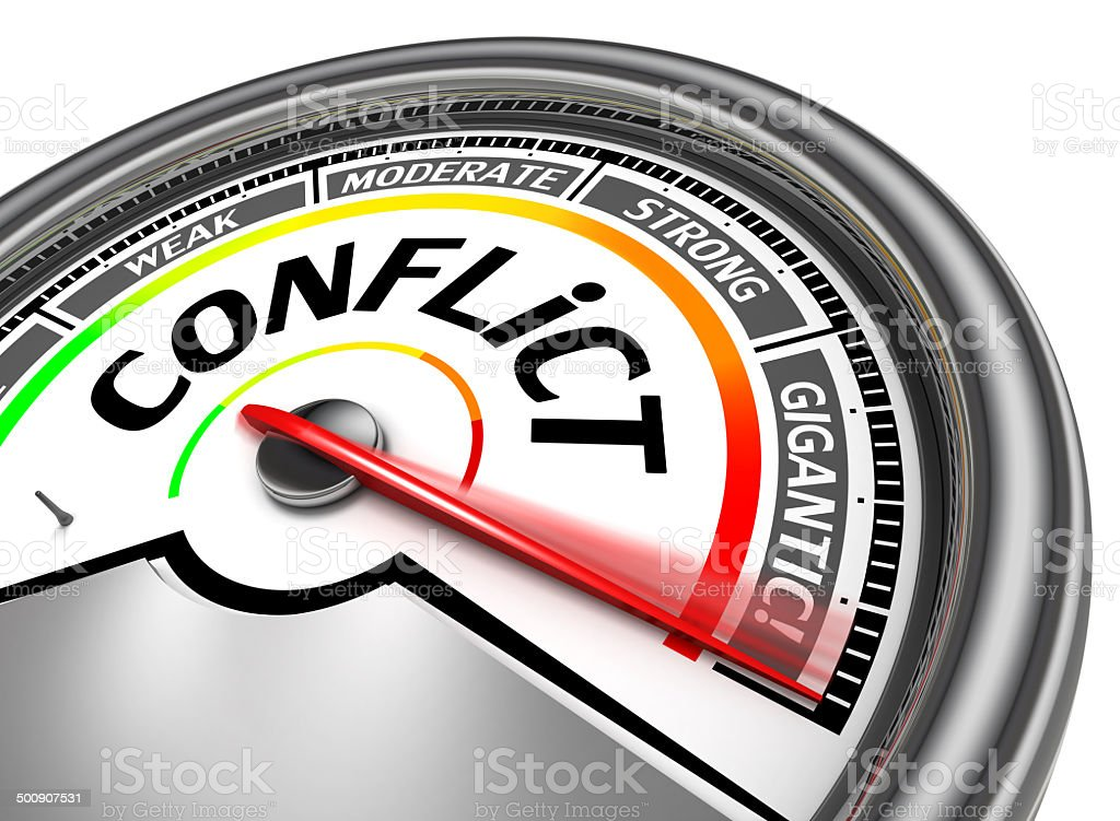 conflict conceptual meter stock photo