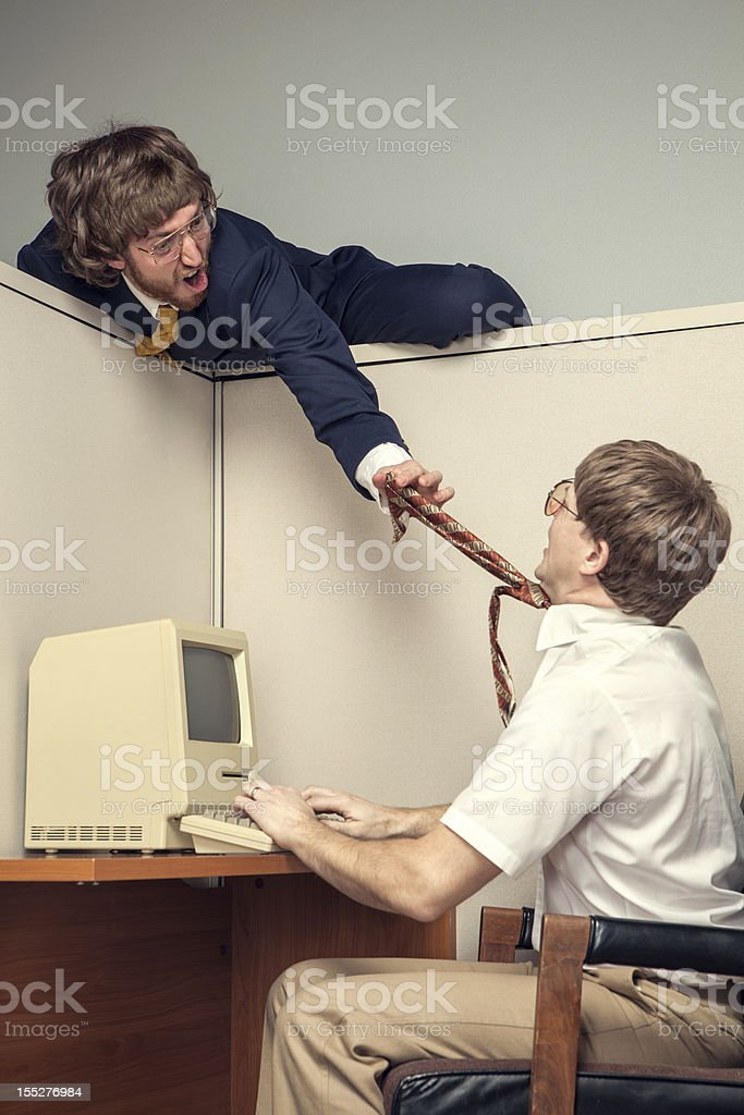 Conflict in Eighties Style Office Cubicle royalty-free stock photo