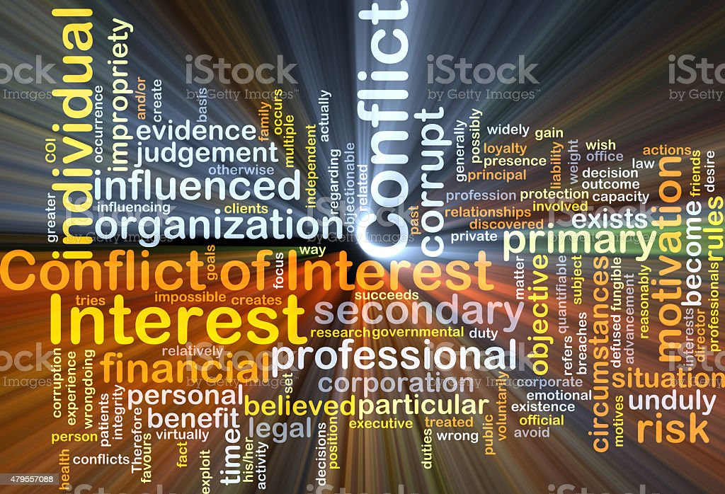 Conflict of interest background concept glowing stock photo