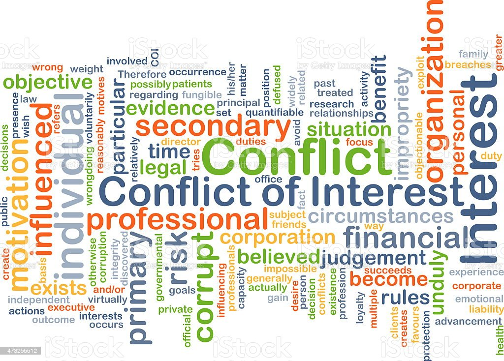 Conflict of interest background concept stock photo