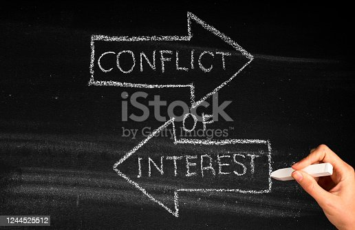 Conflict Of Interest  concept on blackboard