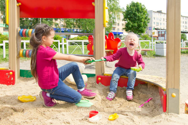 Conflict on the playground. Two sisters fighting over a toy in the sandbox. Kid sister crying all throat stock photo