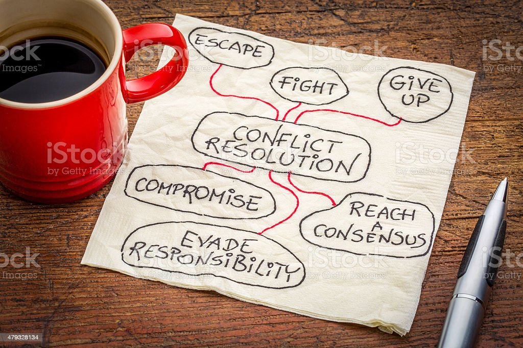 conflict resolution strategies on napkin stock photo
