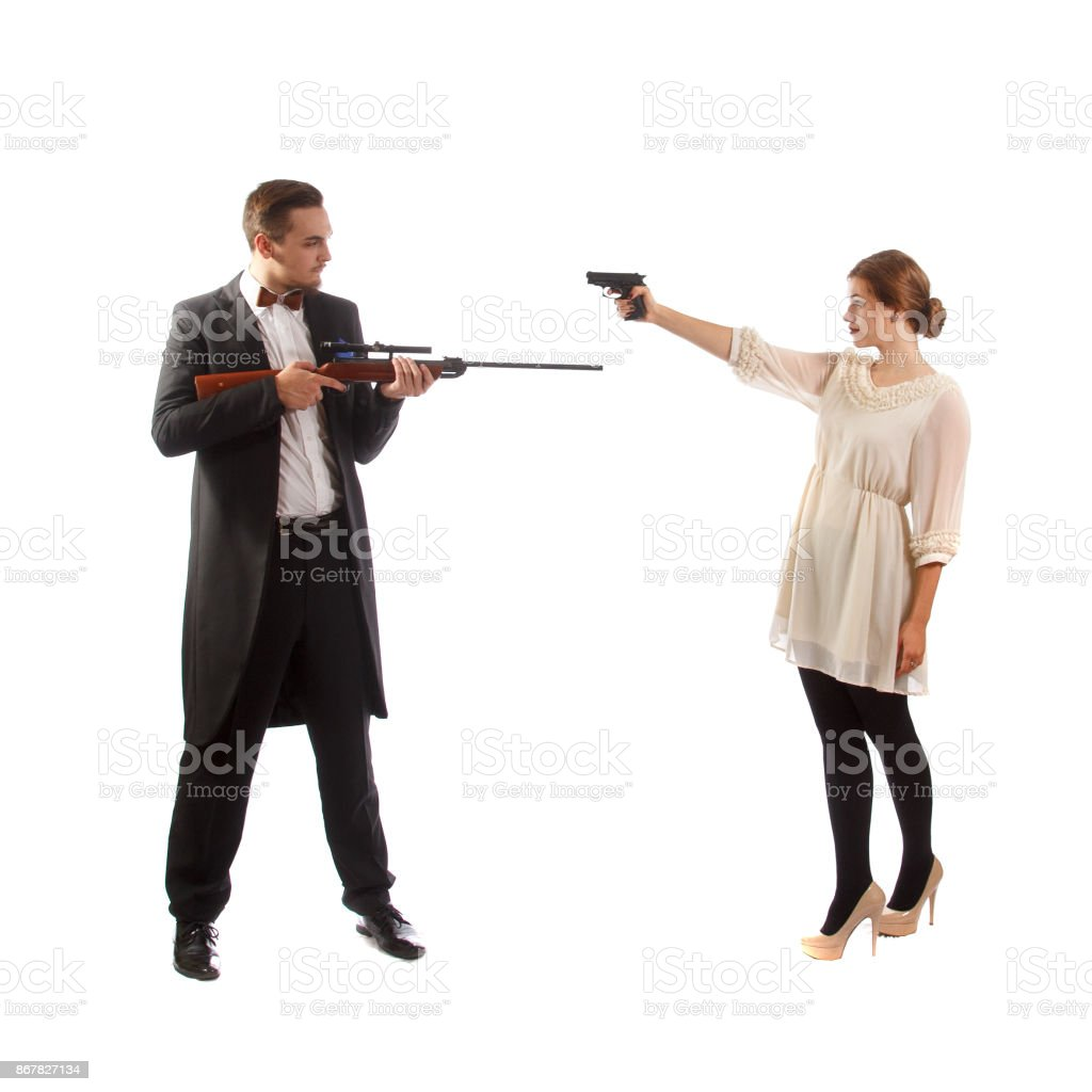 Conflict situation with guns stock photo