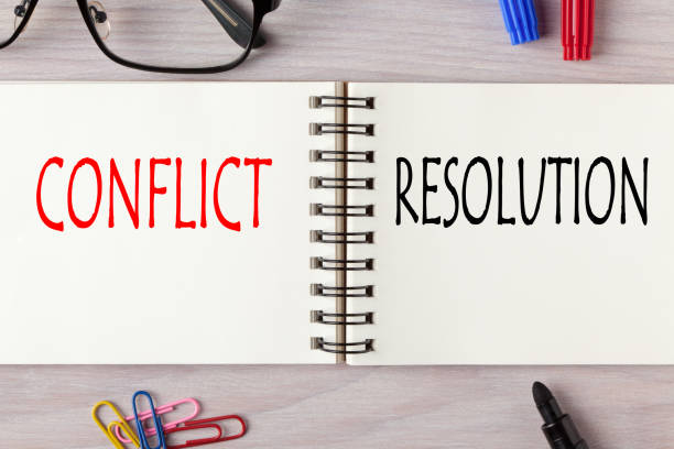Conflict  versus Resolution Conflict vs Resolution written on notebook with marker pen. Business Concept. conflict stock pictures, royalty-free photos & images