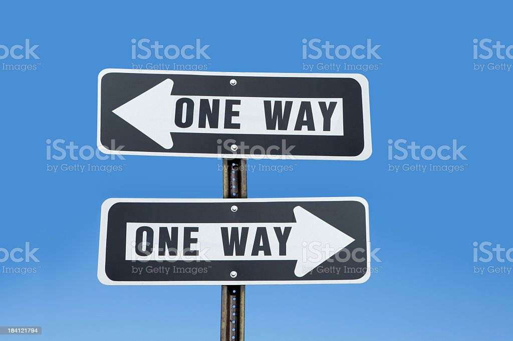 Conflicting One Way Signs stock photo