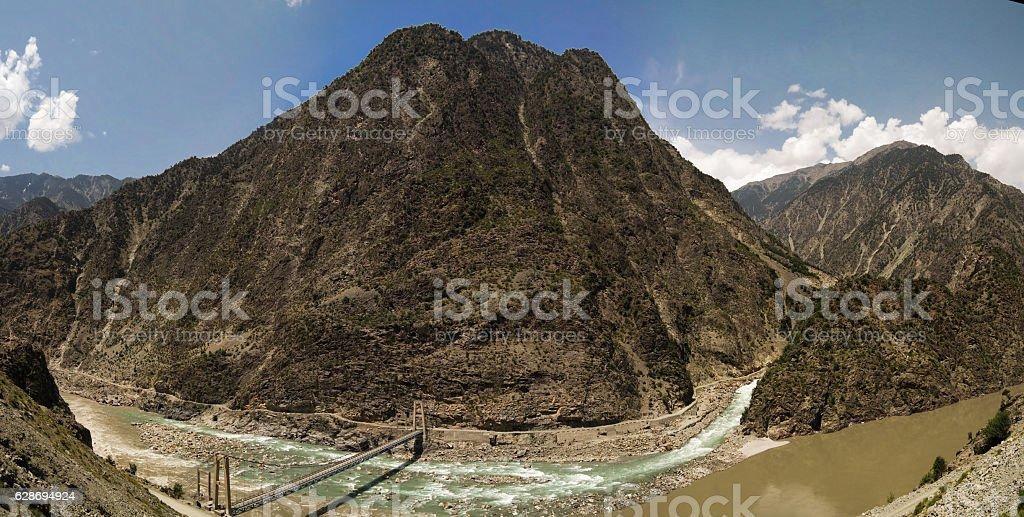 Confluence of Kondia and Indus rivers, Gilgit-Baltistan Pakistan stock photo