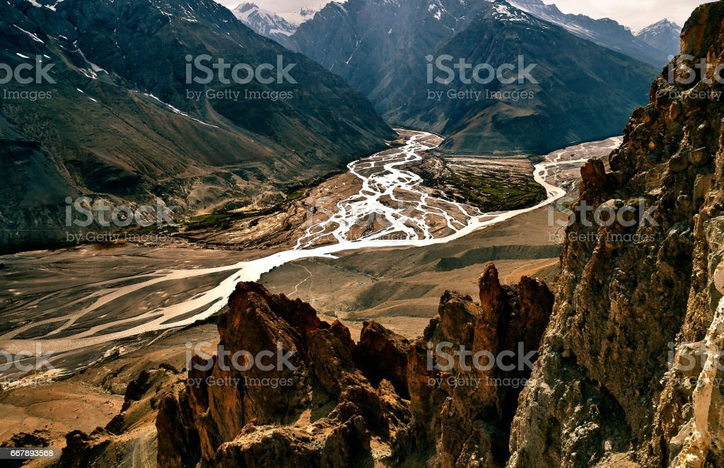 Confluence of Pin & Spiti Rivers royalty-free stock photo