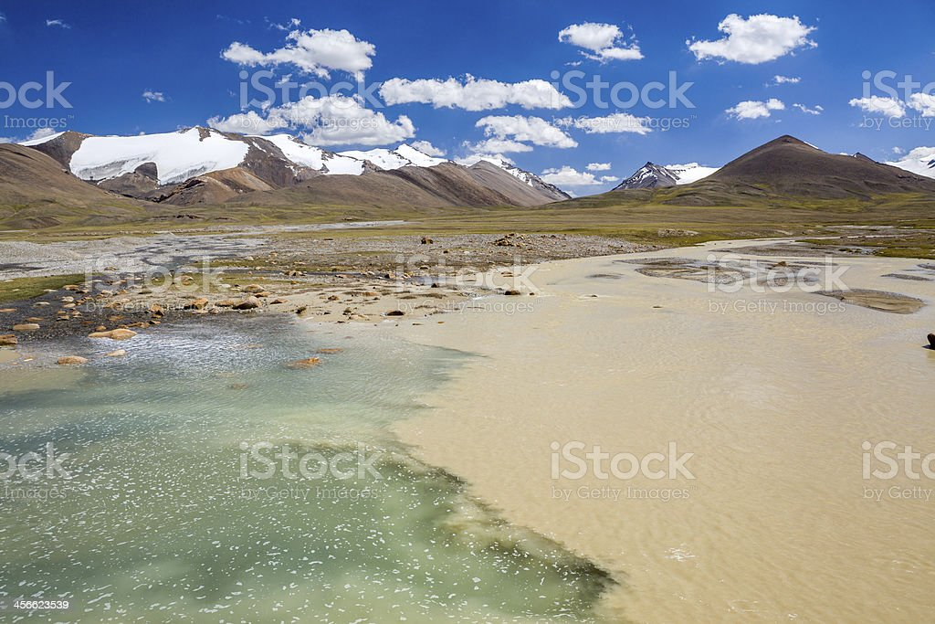 Confluence of pure and muddy rivers royalty-free stock photo