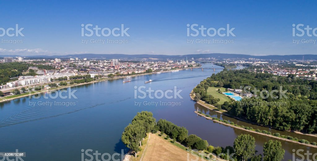 Confluence of rivers Main and Rhein, Germany - aerial panoramic view stock photo
