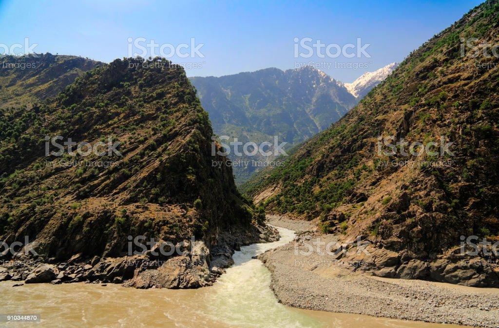 Confluence of Spat Gah and Indus rivers, Gilgit-Baltistan Pakistan stock photo