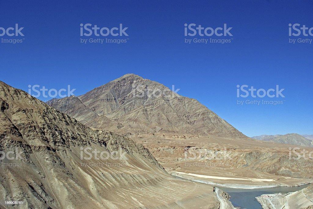 Confluence of the Indus and Zanskar Rivers, Ladakh, India royalty-free stock photo
