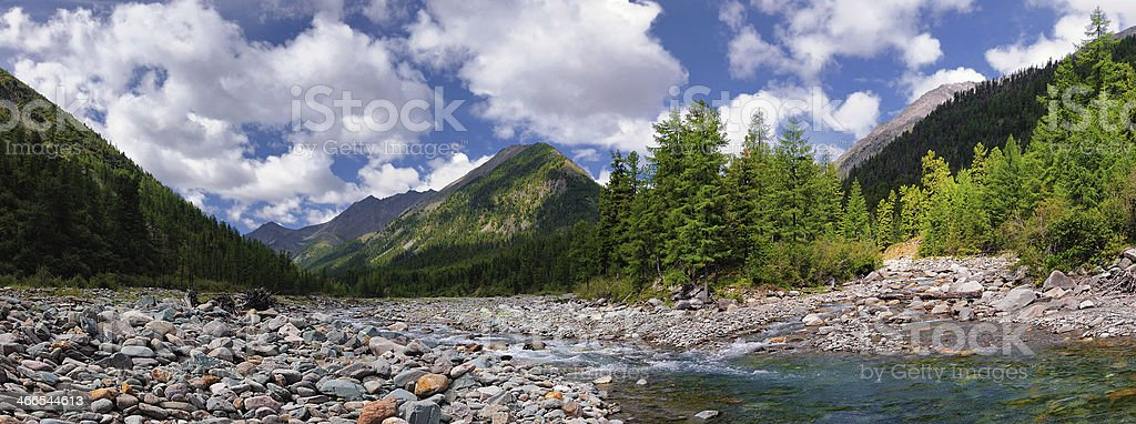 Confluence of two mountain rivers royalty-free stock photo