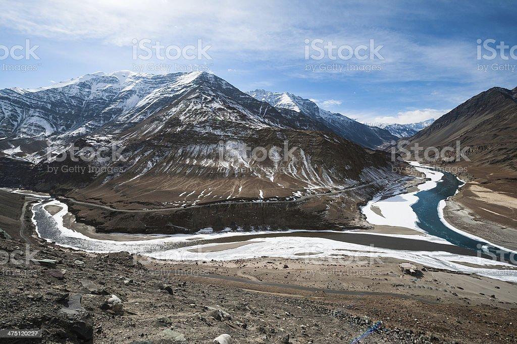 Confluence of Zanskar and Indus river, Leh, Ladakh, India stock photo