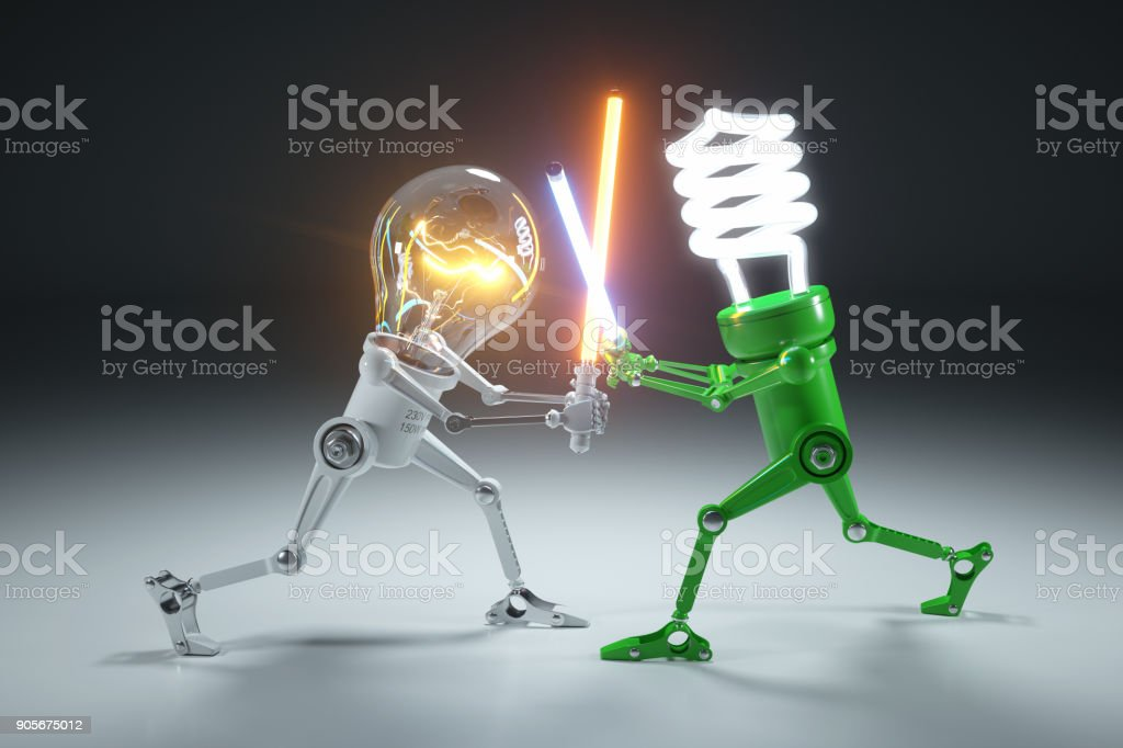 Confrontation cartoon personages bulb light and LED light lamps in style Star Wars. stock photo