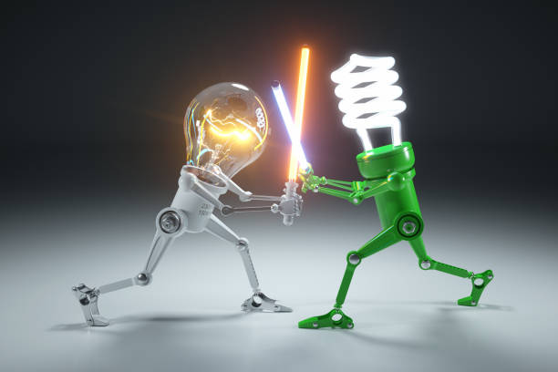 Confrontation cartoon personages bulb light and LED light lamps in style Star Wars. Confrontation cartoon personages bulb light and LED light lamps in style Star Wars. 3d concept confrontation stock pictures, royalty-free photos & images