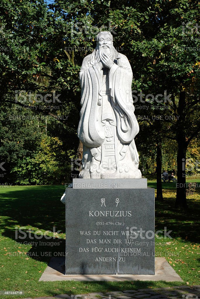 Confucius statue in the Chinese garden in Berlin - Germany stock photo