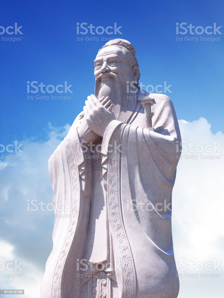 Confucius statue with sky background royalty-free stock photo