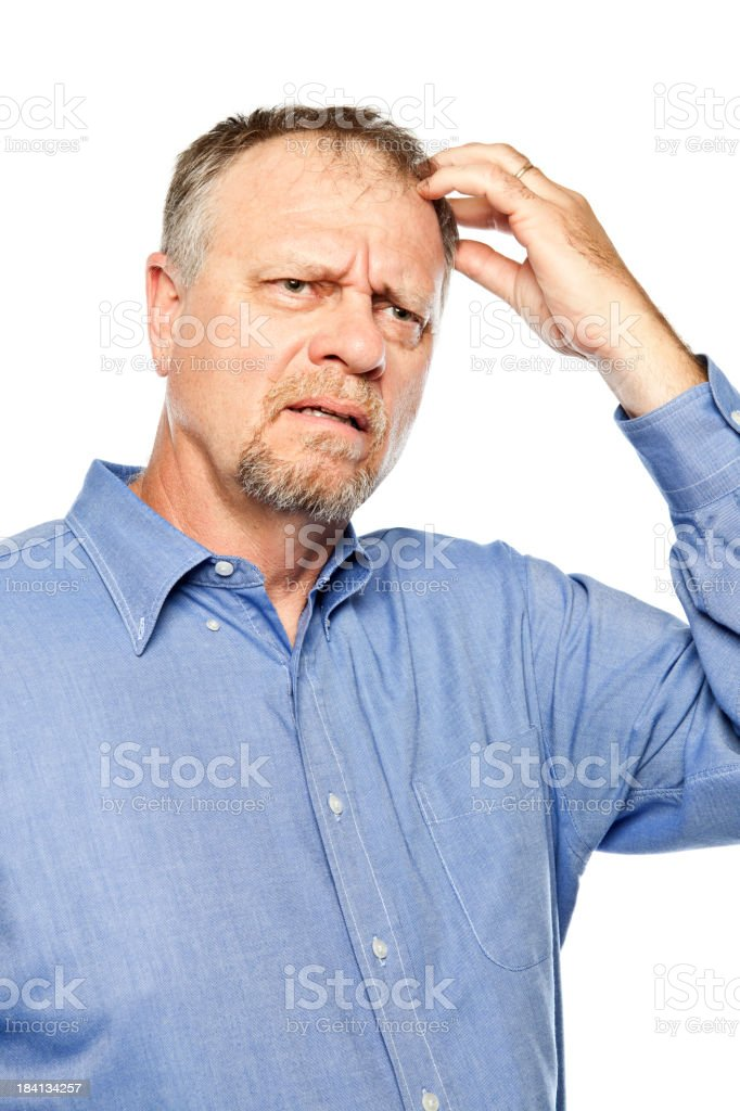 Confused adult portrait. royalty-free stock photo