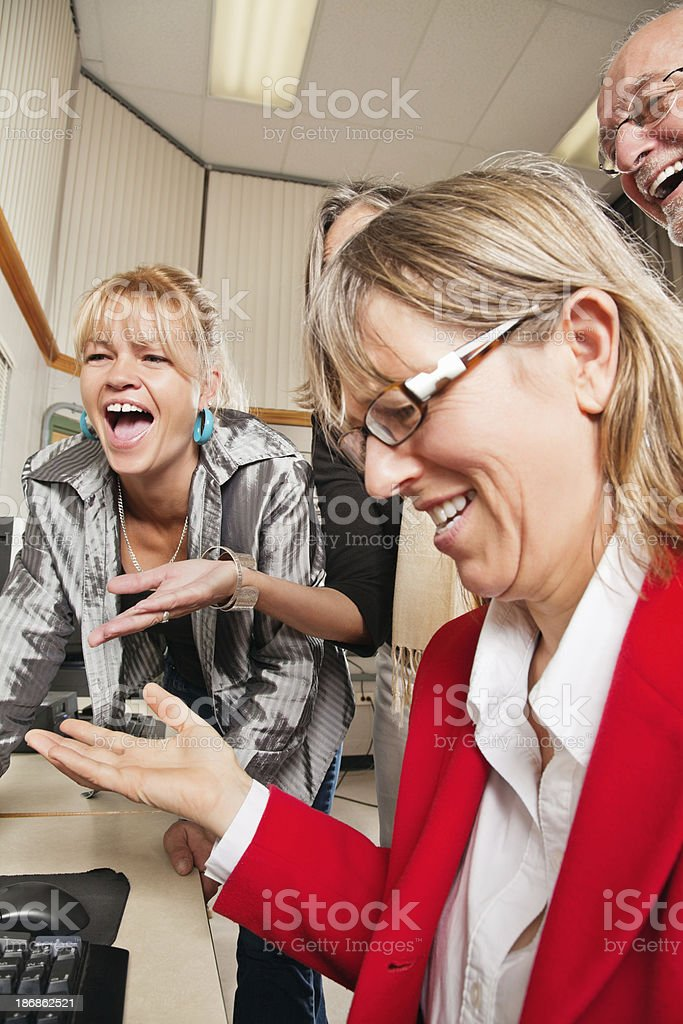 Confused Adult Working on a Computer royalty-free stock photo