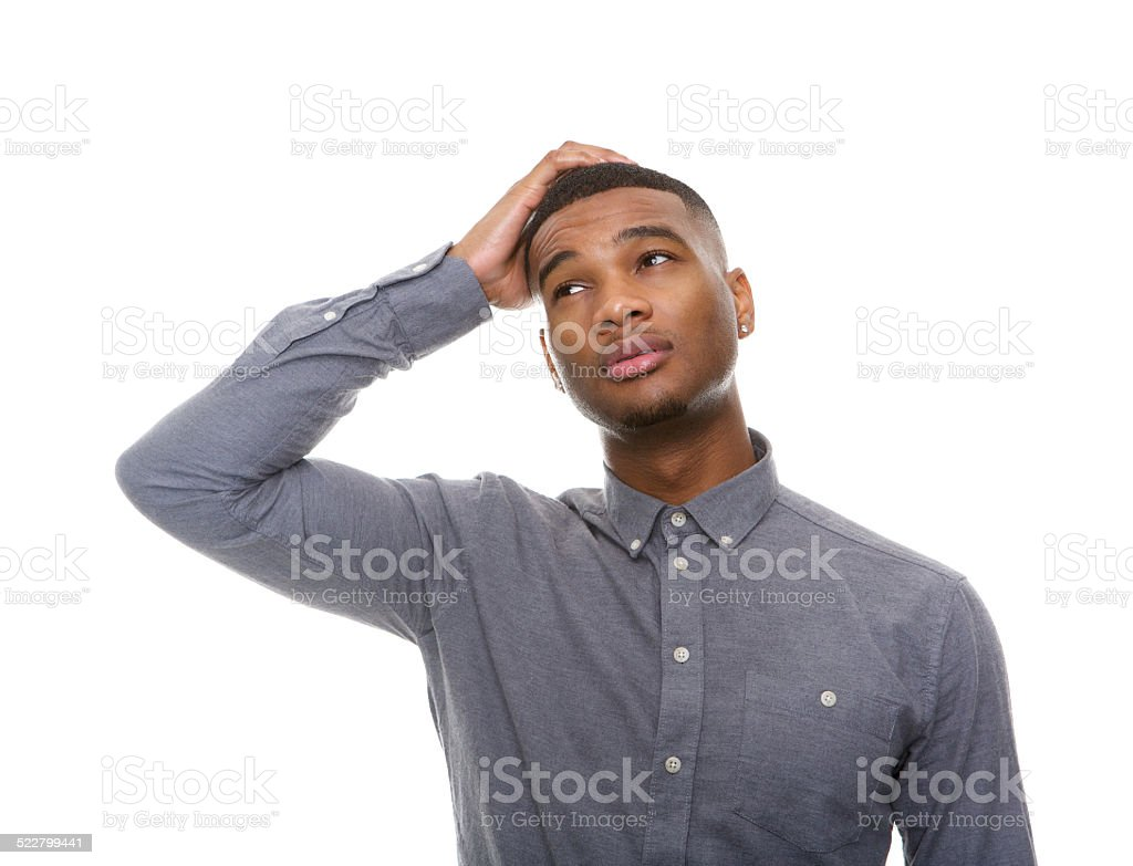 Confused african american man stock photo