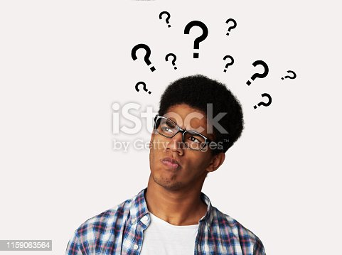 Confused Afro Guy Has Too Many Questions and No Answer, White Background
