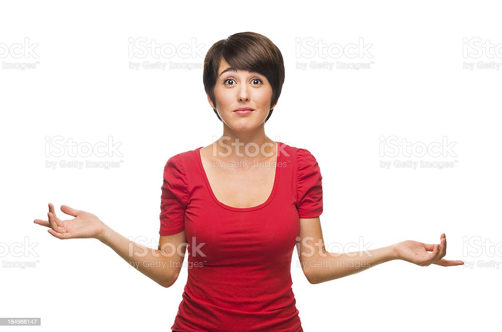 Confused beautiful woman stock photo