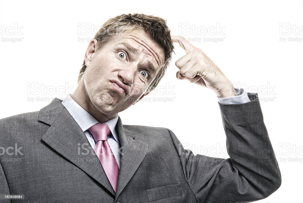 Confused Businessman Scratching Head Funny Face White Background royalty-free stock photo