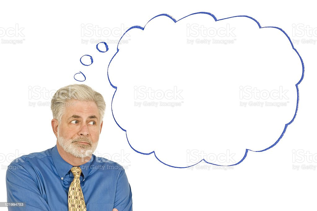 Confused Businessman With Blank Speech Bubble royalty-free stock photo